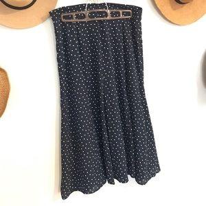 Loft navy and white polka dot midi skirt
